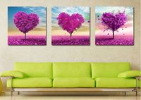 3 Pieces Love Peach Heart Tree Frameless Oil Painting By Numbers On Canvas DIY Modular Pictures