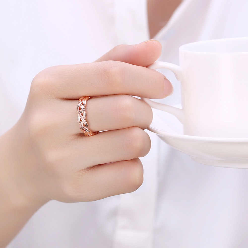 Handmade Jewelry Braided texture Design Plating Rose Gold Women ...