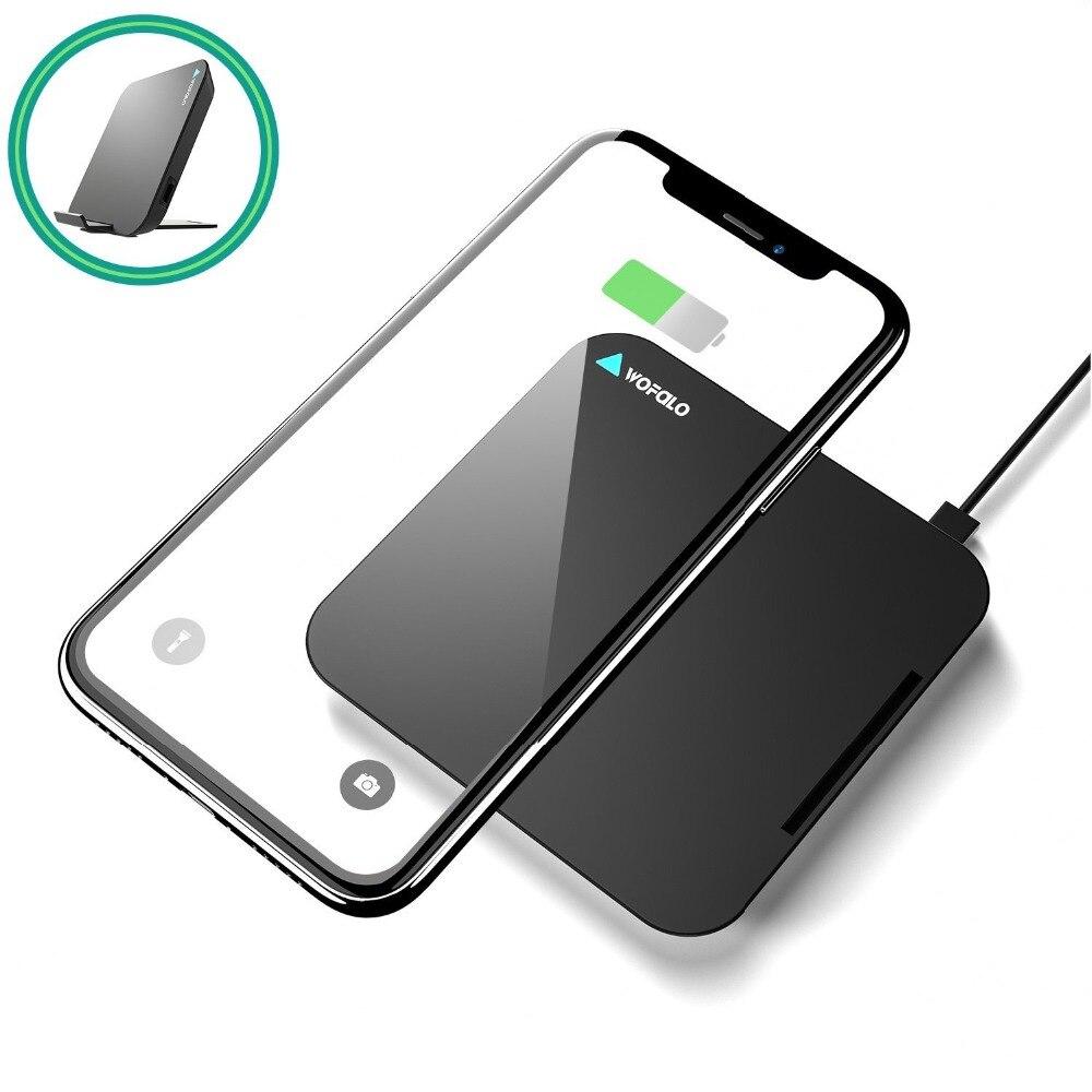 Wofalo Qi cargador inalámbrico para iPhone XS/XR/8 10 W Visible rápido almohadilla de carga inalámbrica para samsung Galaxy S9/S9 Plus/nota 8