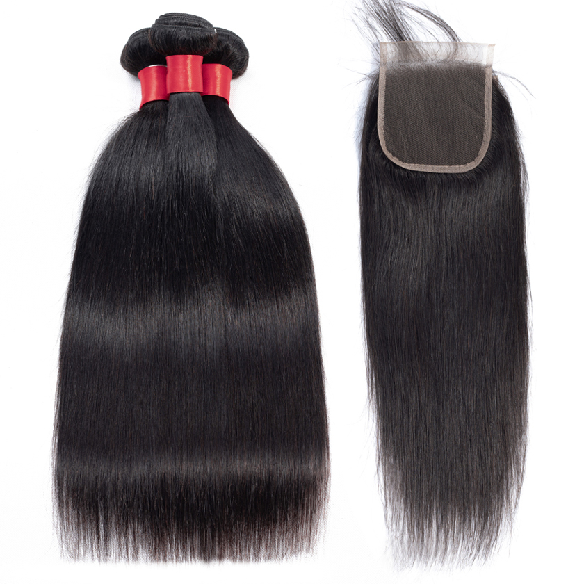 Superfect Malaysian Striaght Hair Bundles With Closure 4 4 Free Part Lace Closure With Bundles Non