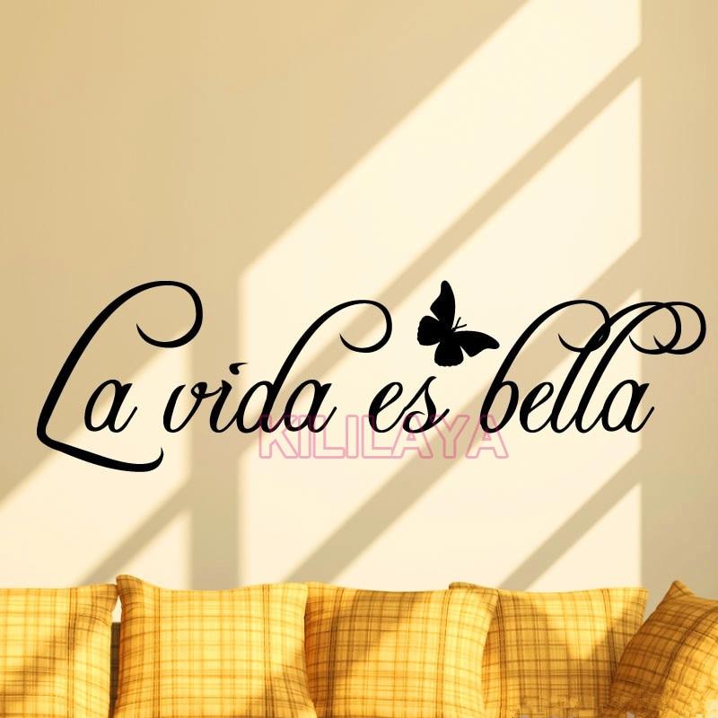 Vinyl Wall Stickers Spanish Quotes La Vida Es Bella Removable Art ...