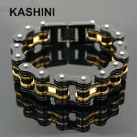 Fashion Stainless Steel 316L Bicycle Chain Gold Black Bracelets & Bangles Motorcycle Chain Bracelet Men Biker Jewelry Gift