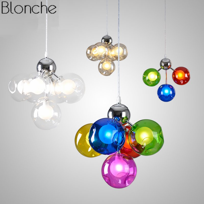 Modern Pendant Lights Led Hanging Lamp Stained Glass Ball Colorful Loft for Dining Room Kitchen Fixtures Home Decor Luminaire G4