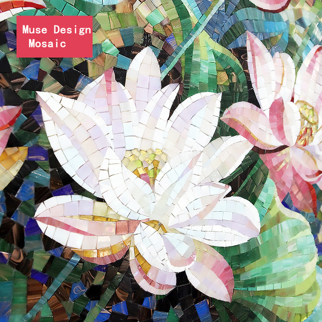 Fabrik Lotus Blume Glasmosaik Hand Geschnitten Back Mosaik Fliesen