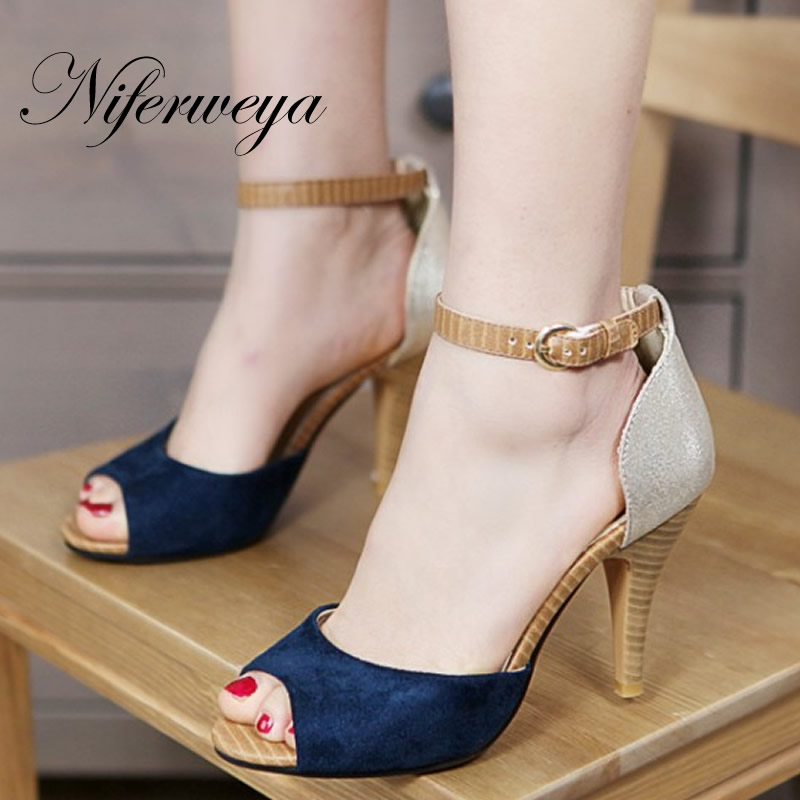 3 Color fashion Peep toe women shoes Mixed Colors large size 32-43 Buckle Strap high heel sandals small size 32 33 WM-103 доктор перец пластырь перцовый 10х18см обезболивающий