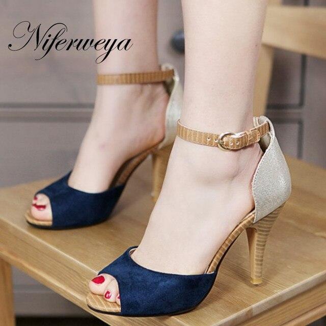 40a3c687d 3 Cor da moda Peep toe mulheres sapatos Cores Misturadas tamanho grande  32-43 Cinta