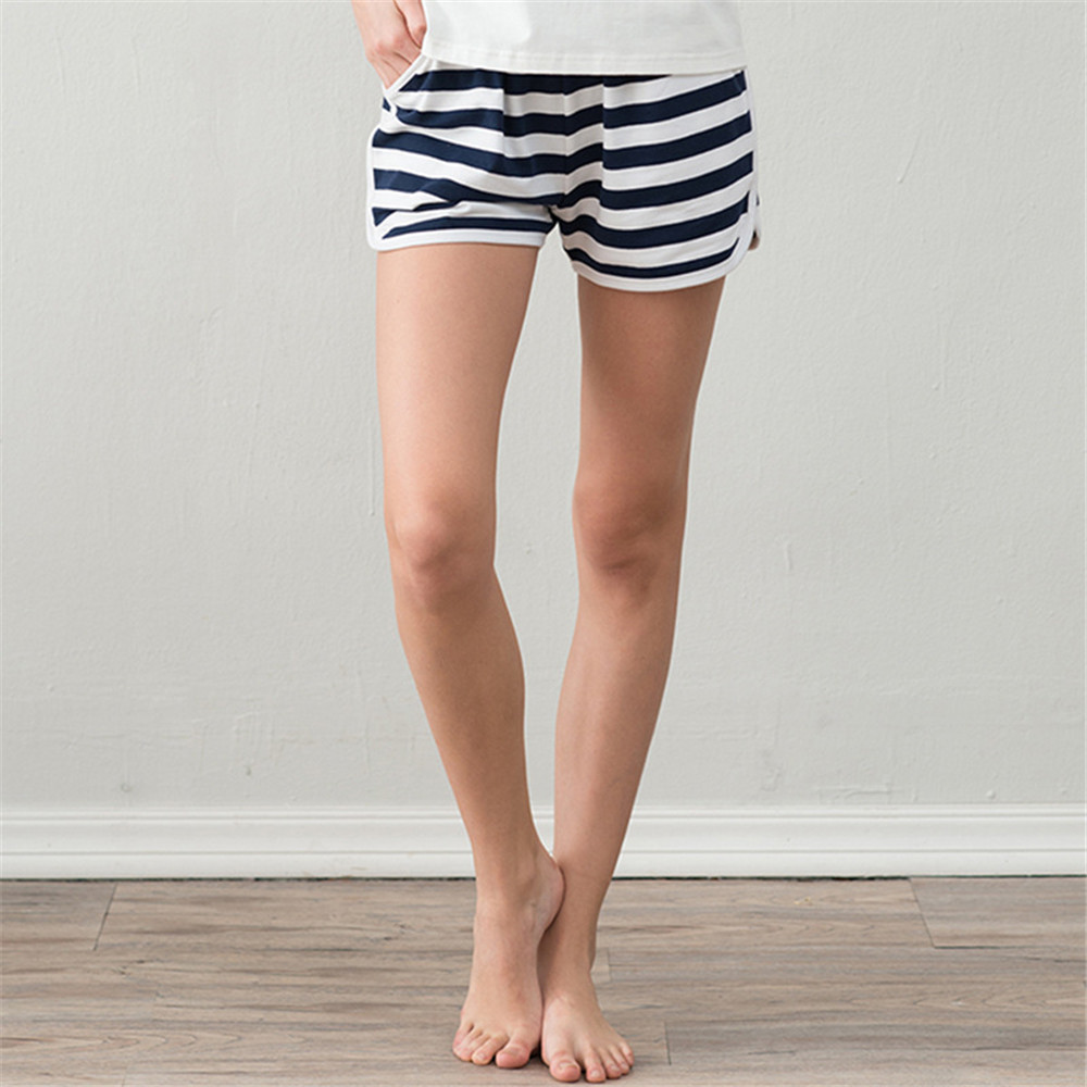 QIANXIU womens pajama bottoms comfortable cotton sleep shorts Loose Summer Thin striped  ...
