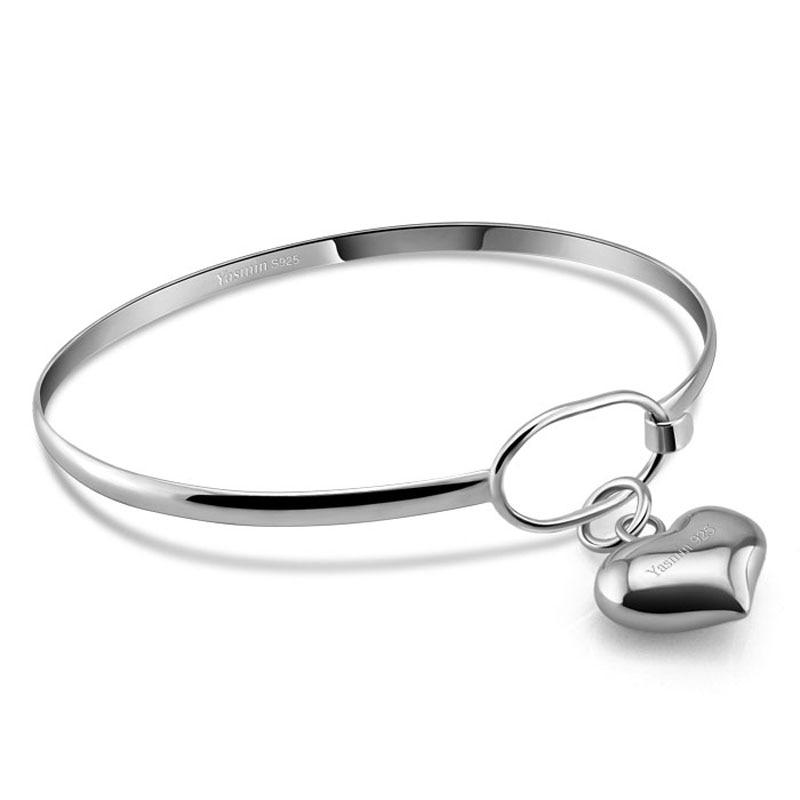 Simple fashion round bracelet.Solid 925 silver women bracelet.Heart-shaped pendant bracelet. girl sterling silver jewelry