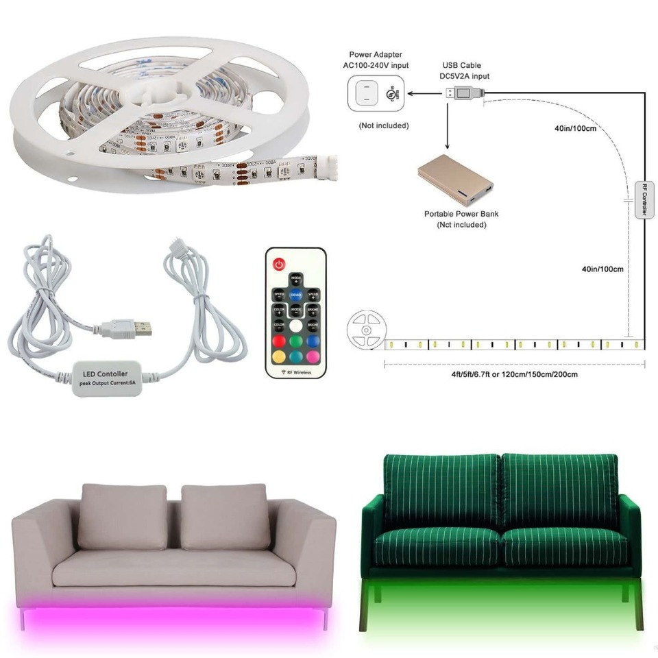 Aiboo Sofa Couch Bed Lights Rgb Led Strips With Wireless Rf Remote Control Night Corridor Furniture Staircase Lighting Led Strips Aliexpress