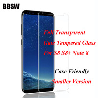 BBSW Transparent 3D Full Adhesive Tempered Glass For SAMSUNG S8 Case Friendly Full Glue Screen Protector