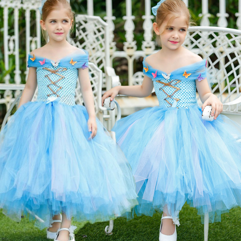 2016 Hnadmade Girl Spring Princess Cinderella Dress Kid Blue Butterfly Princess Costume Party ball gown Dress  1-12T free shipping new red hot chinese style costume baby kid child girl cheongsam dress qipao ball gown princess girl veil dress