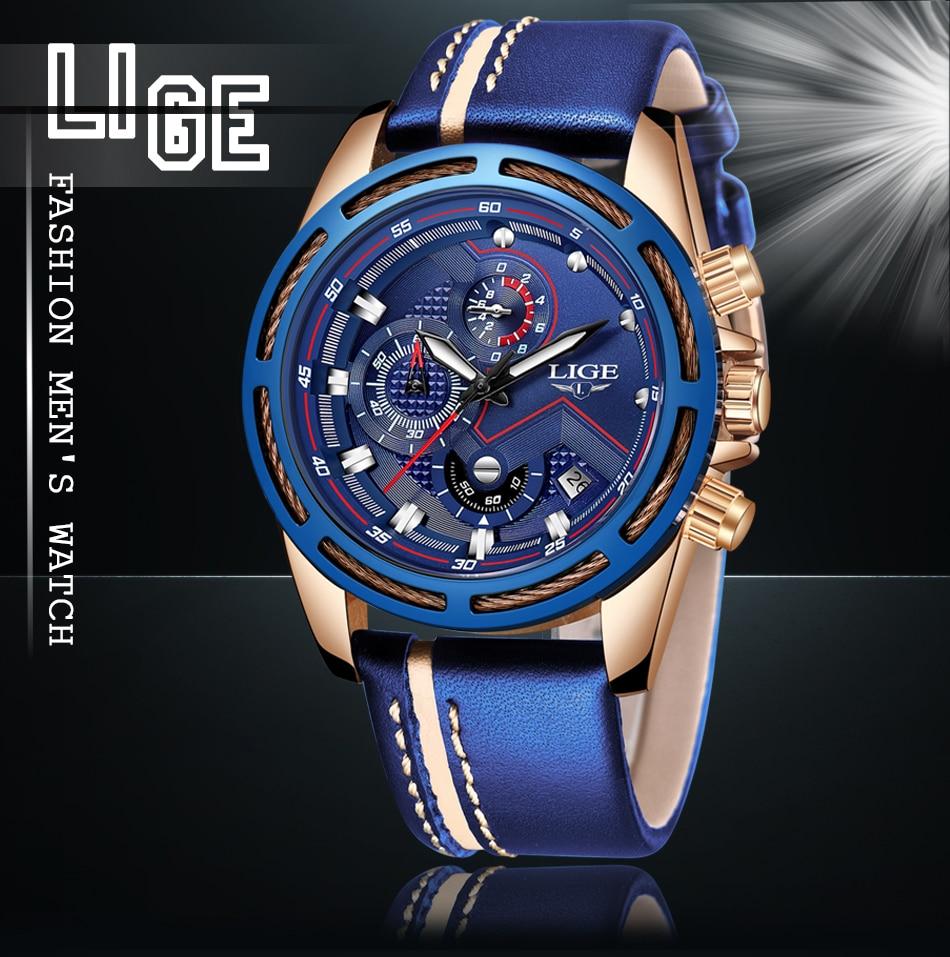HTB1IilgXoGF3KVjSZFoq6zmpFXag LIGE Watch Men Fashion Sport Quartz Clock Leather Mens Watches Top Brand Luxury Blue Waterproof Business Watch Relogio Masculino