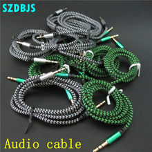 10pcs/lot 3.5mm Jack Male to Male Stereo Aux Extension Audio Cable 1m for iPhone iPod Car Nylon Braid Audio Cable(China)