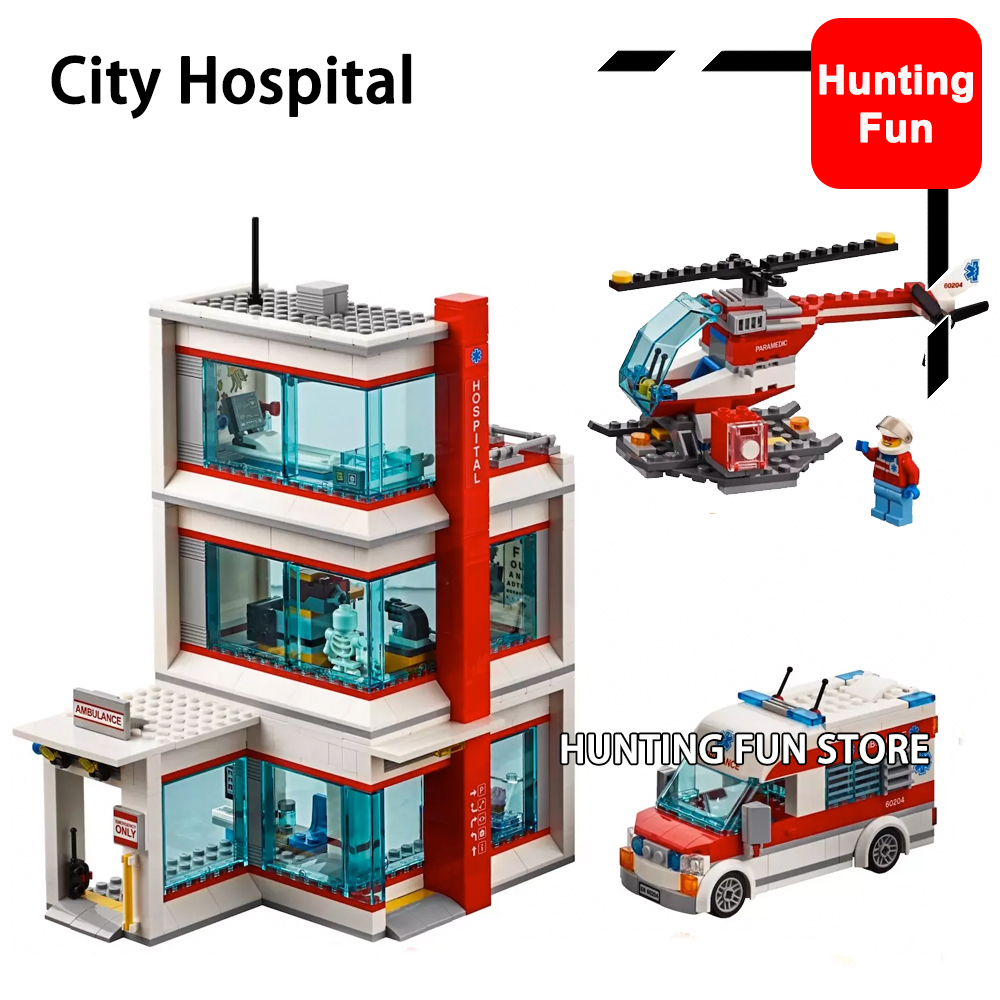 02113 964Pcs Compatible Legoness 60204 City Hospital Set Ambulance Helicopter Minifigs Figures Model Building Blocks Toys Kids
