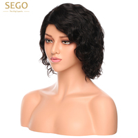 SEGO Short Water Wave L Part Lace Wigs For BlAck Women Glueless Lace Human Hair Wigs Black Short 100% Brazilian Remy Hair