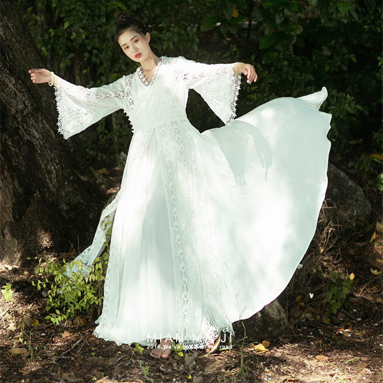 MMJ Spring Summer New Women Vintage Bohemia V-Neck Flare Sleeve Embroidery Lace Twinset Big Swing White Long Maxi Dress