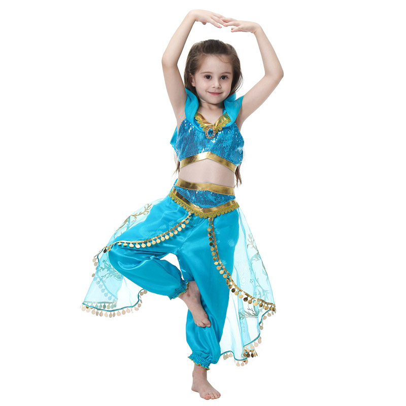 Children Aladdin's Lamp Jasmine Princess Costumes Cosplay For Girls Halloween Party Belly Dance Dress Indian Princess Costume
