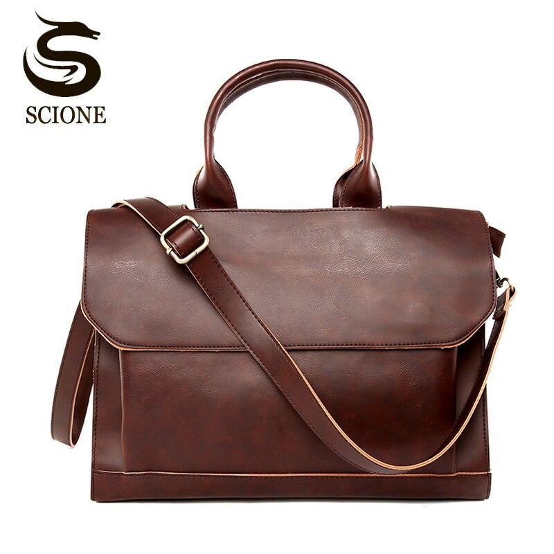 High Quality PU Leather Men Briefcase Bag OL Business Man Messenger Shoulder Bag Male Travel Totes Black/Brown Solid Color Bags