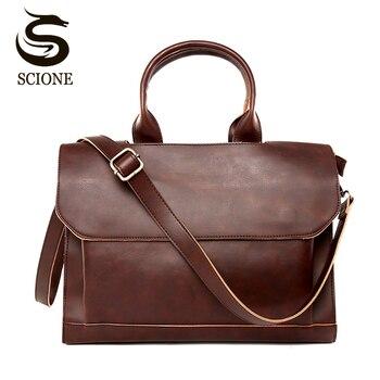 Wysokiej jakości PU Leather mężczyźni aktówka torba człowiek biznesu Messenger torba na ramię mężczyzna podróży skrzynki czarny/brązowy jednolity kolor torby