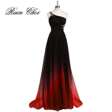 One Shoulder Evening Dress Chiffon Formal Party Dresses Blue Purple Gray Red Elegant Long Gowns 2016