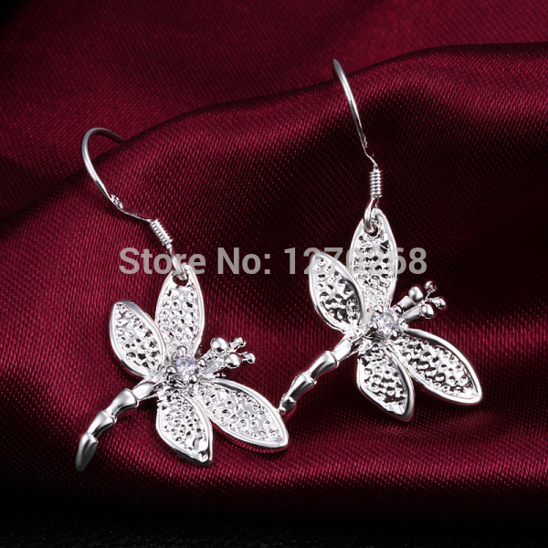Fashion Jewelry 925 Sterling Silver Plated Dragonfly Drop Earrings Gift E009