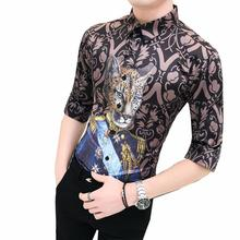 Half sleeve Social Mens Shirts Summer Blouse Men Hawaiian Hip hop dress Leopard Print Fashion Slim fit New