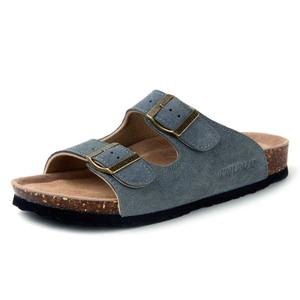 Image 1 - Summer Mens Cow Suede Leather Mule Clogs Slippers High Quality Soft Cork Two Buckle Slides Footwear For Men Women Unisex 35 46