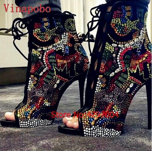 Hot-Nicki-Crystal-Covered-Comic-Open-toe-Lace-up-High-Heel-Women-Booties-Mixed-Colors-Rhinestone