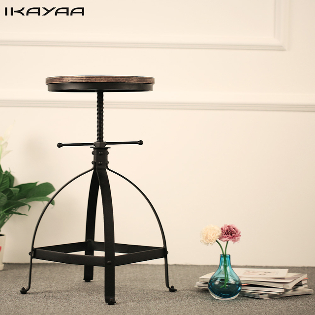 IKayaa Industrial Style Bar Stool Adjustable Height Swivel Kitchen Dining  Stool Natural Pinewood Top Barstool US