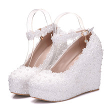 New Women Pumps Shoes Lace Appliques Pearl Wedges Buckle Strap 10.8cm High Heels Round Toe Wedding Lady Party Female Shoes Plus diamond wedges red women wedding shoes high heels sexy lady rhinestones buckle women pumps plus size 43