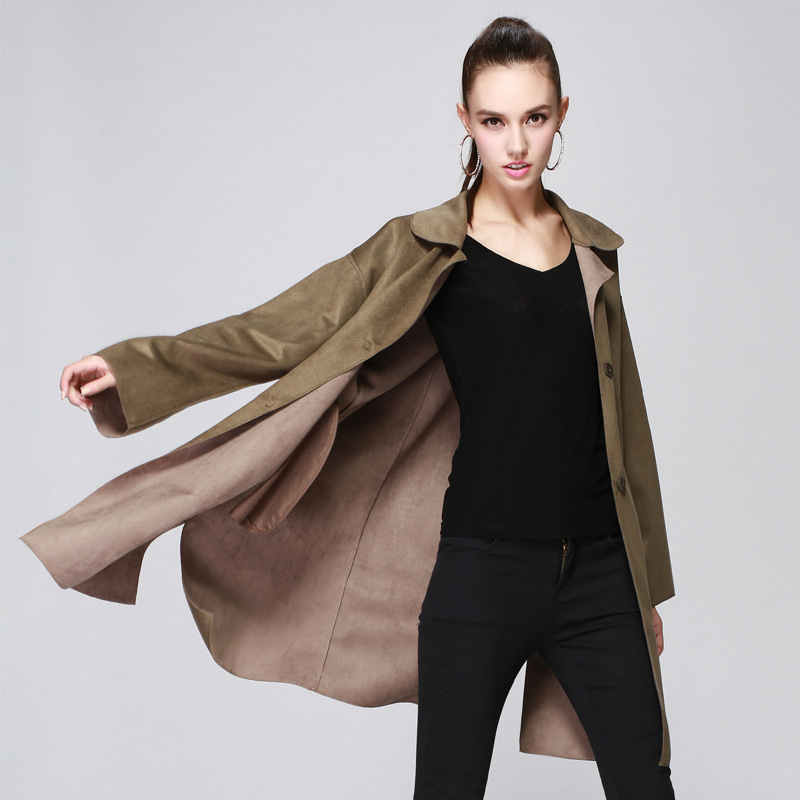 2017 Fall&Winter Army Green Novelty Sigle Breasted Deer   Leather   High Quality Long Fashion   Leather   Coat