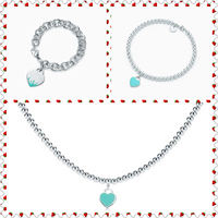 SHINETUNG 1:1 S925 Sterling Silver Genuine TIFF Green Heart Shaped Pendant Trendy Necklace Women Fine Romance Bracelet Jewelry