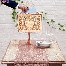 QIFU рустикальная коробка для свадебных карточек, Подарочная деревянная коробка для свадебных карточек с замком, украшение для свадебного стола, свадебные приглашения