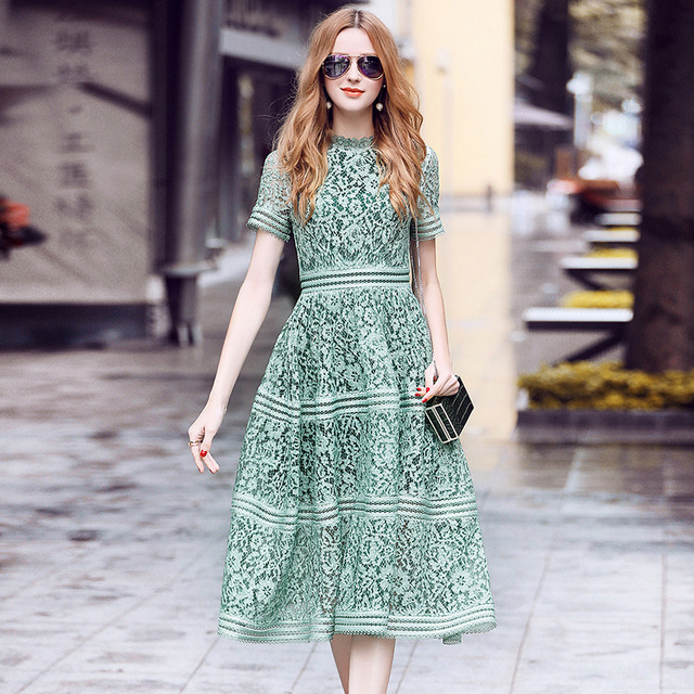 9e01a567b80 Runway Dress 2019 Summer Women High Quality Elegant Slim Hollow Out A-line  Lace Midi Dress Pink/Green Dress self portrait dress