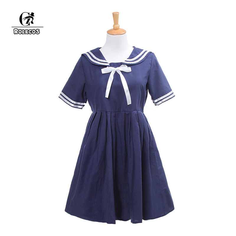 ROLECOS Brand New Japanese Preppy Style Lolita Dress Cosplay Costume Navy Style Sailor Bow Dress Women White Lolita Dress