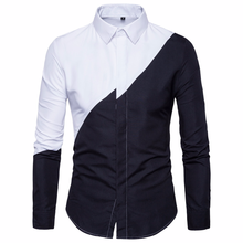 Fashion Black And White Stitching Mens Long-sleeved Shirts Business Lapel