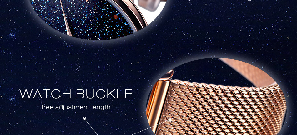 Fashion Women's Bracelet Elegant Stars Rose Gold Watch