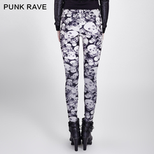 PUNK RAVE Gothic style black and white leggings with skull Patton  k-259