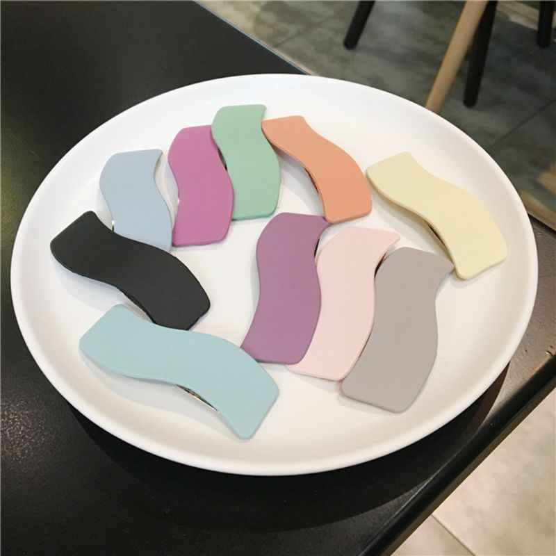 Sweet Macaron Candy Color BB Hair Clip Women Geometric Wavy Heart Hairgrip Retro Scrub Frosted Acrylic Side Bangs Snap Barrettes