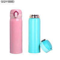 500ml Stainless Steel Portable Travel Thermos Lnsulation Mug Student Bouncing Cups Office Car Tea Mugs