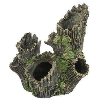 17*12*19CM Resin Hollow Simulation Tree Hole Hiding Cave Aquarium Reptile Habitat Landscaping Decor