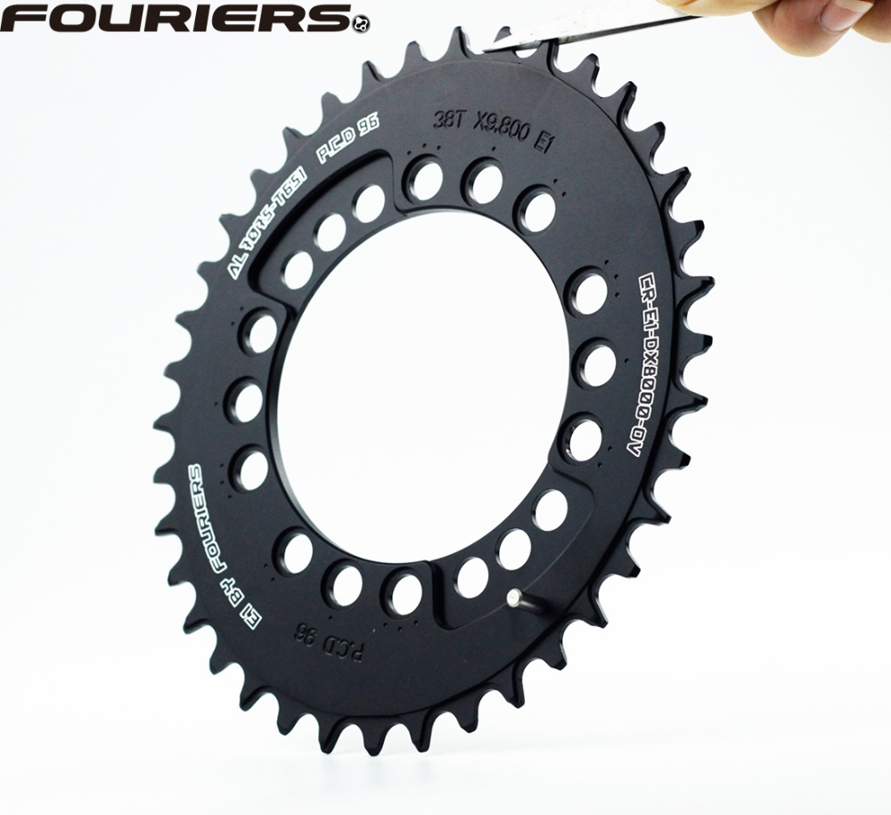 FOURIERS CR-E1-DX8000-OV Mountain Bike oval Chainring P.C.D 96 MTB Chainwheel Crankset 34T-48T Black ...