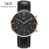ファッション多機能メンズ腕時計カーニバル超薄型クォーツ時計の男性カレンダー輸入スイスムーブメントレザーバンド発光