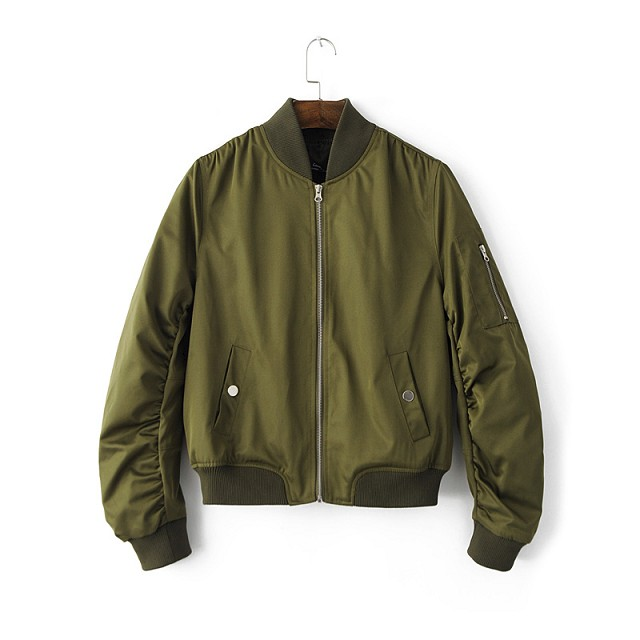 Army Green Zipper Bomber Jacket Women 2016 Military Flight Ladies ...
