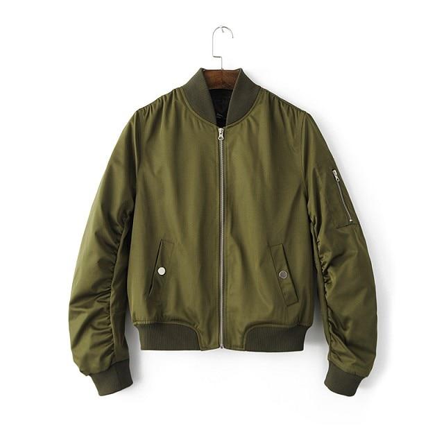 Aliexpress.com : Buy Army Green Zipper Bomber Jacket Women 2016 ...