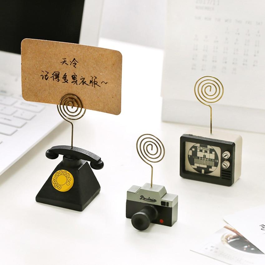 1pc Wooden Cartoon Card Stock Notes Folder Photo Clip Card Message Clip Office Supplies Study Desk Information Photo Clip
