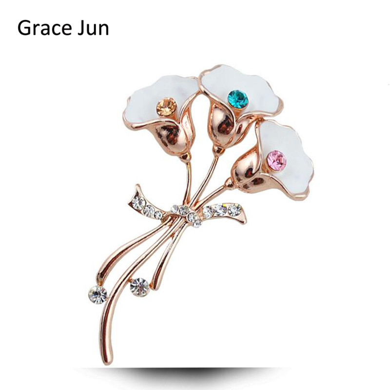 Grace Jun Fashion Alloy Rhinestone Flower Shaped Brooches for Women Corsages fine Jewelry Scarf Suit brooches pin High quality