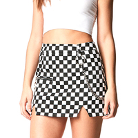 Street Style Plaid Skirt Women High Waist Micro Mini Skirt With Chain Ender Split Super Short Skirt Ladies Summer Streetwear