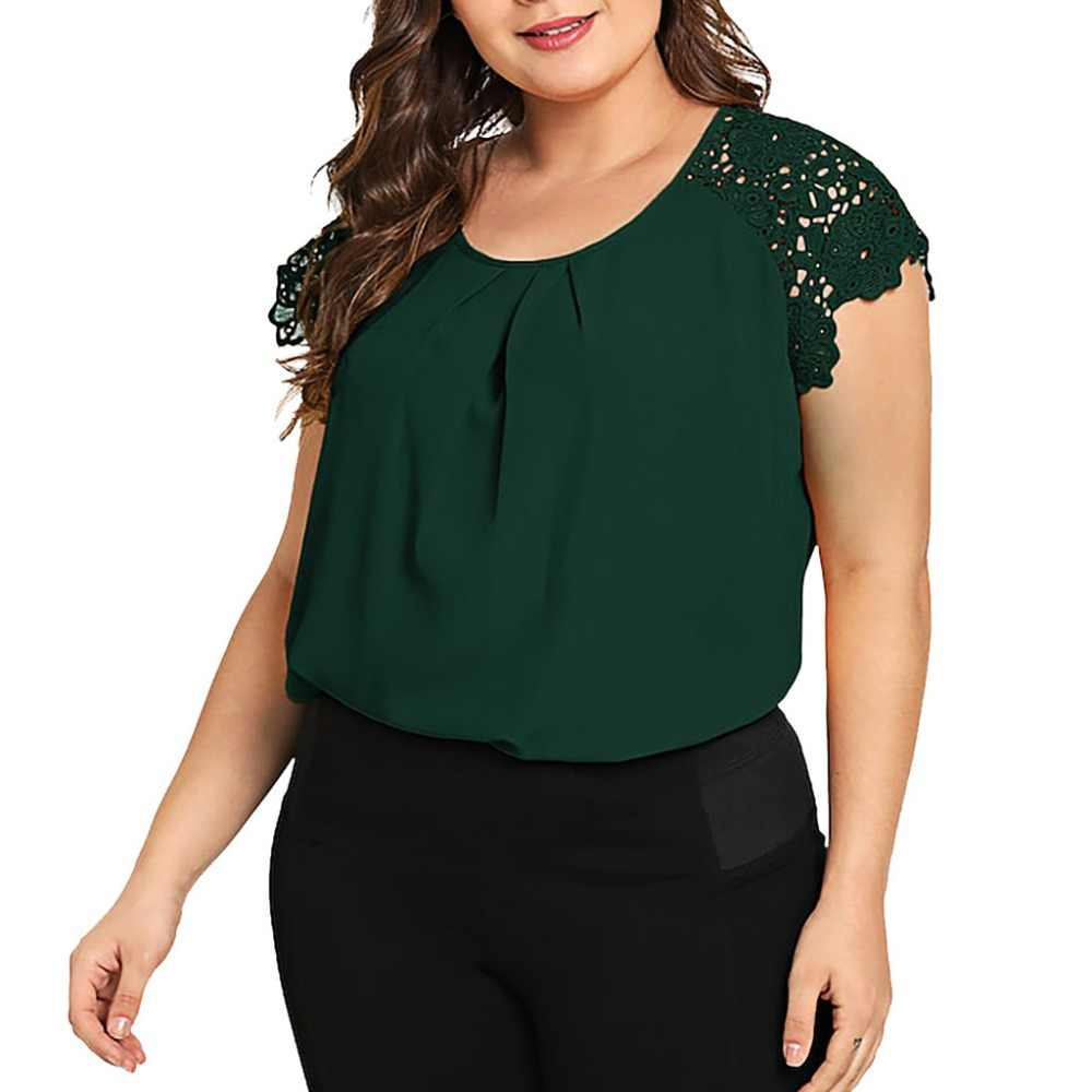 Plus Size Women Blouse Ginger Gathered Neck Floral Lace Shoulder Plain Top Blouses 2019 Round Neck Raglan Sleeve Tops Blouse BB3