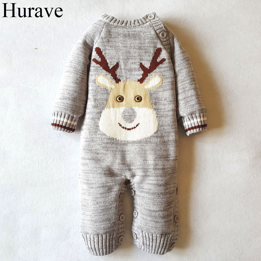 Hurave winter Newborn boys and girls Baby Romper plus Cashmere Cute animal print Cotton long sleeve warm baby clothes children autumn and winter warm clothes boys and girls thick cashmere sweaters